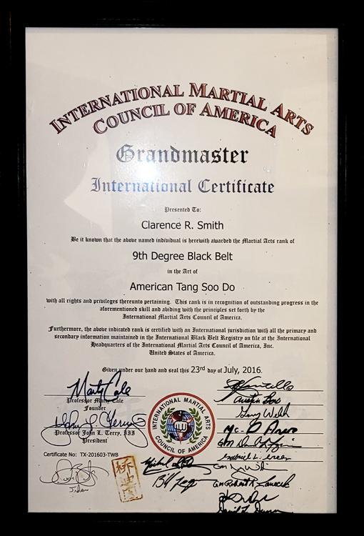 9th Degree Black Belt Award